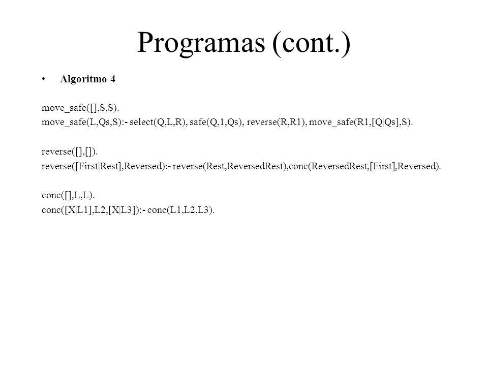 Programas (cont.) Algoritmo 4 move_safe([],S,S).